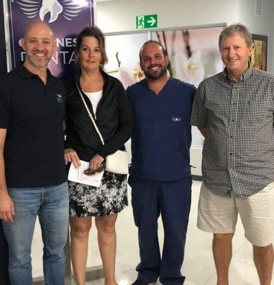 Dr. Carlos Fiorito, Patient Coordinator and Dr. Daniel Alfaro, Prosthodontist with happy patients