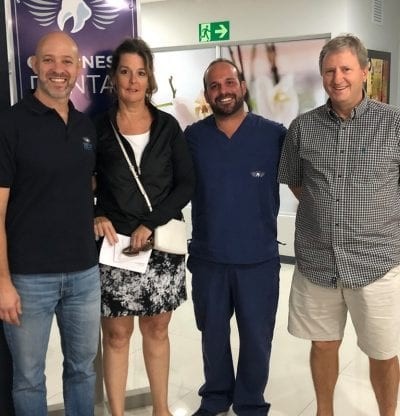 Dr. Carlos Fiorito, Patient Coordinator and Dr. Daniel Alfaro, Prosthodontist with happy patients